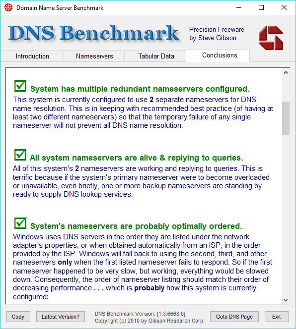 Conclusions, DNS