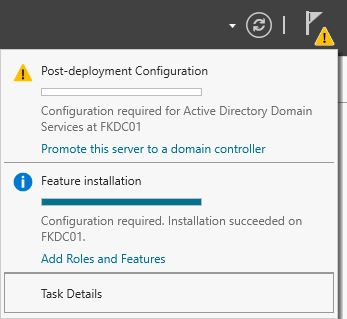 Server Manager Promote this server to Domain controller
