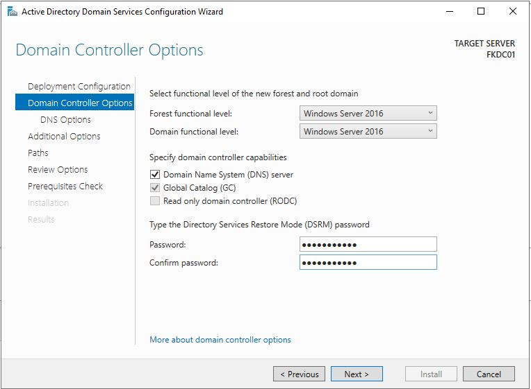 Active Directory Domain ServicesDNSDSRM Password