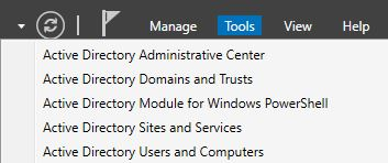 Server Manager Active Directory Users and Computers