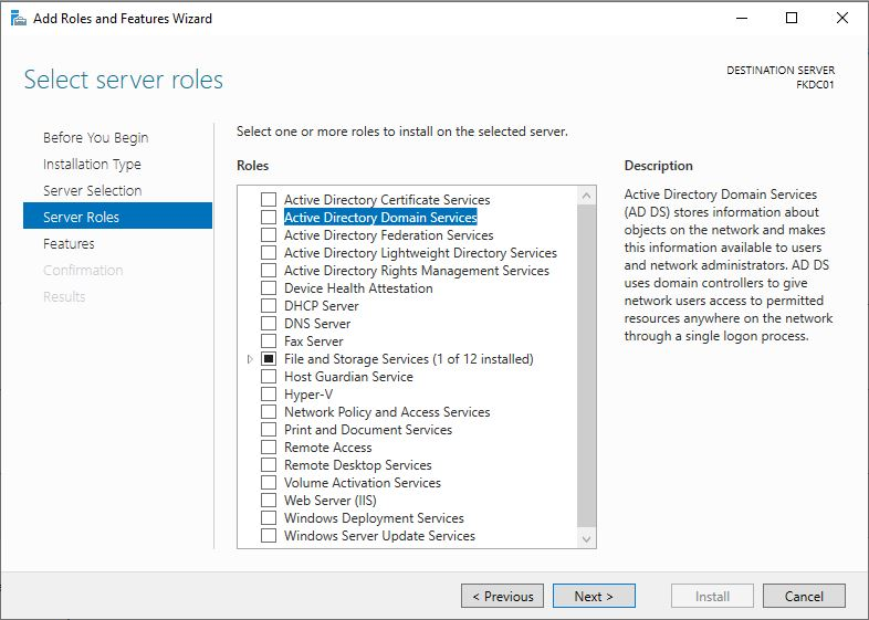 Add Roles and Features Active Directory and domain Services