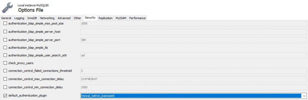 MySQL WorkbenchAuthentication Type: Standard