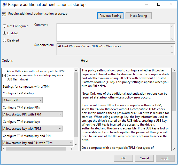 require additional authentication at startup