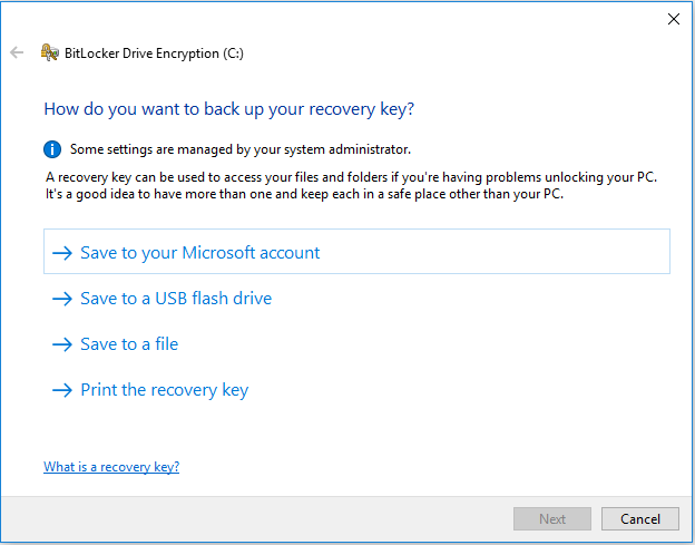 Save Recovery keys