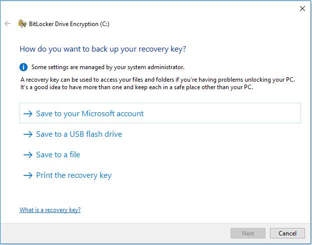 Save Recovery keys