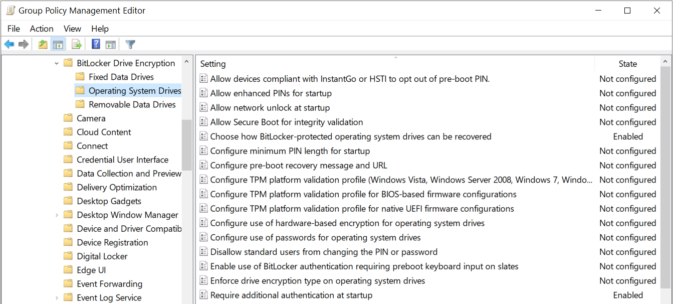 Operating System DrivesBitlocker recoveryadditional Authentication
