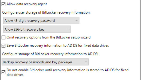 Allow Data Recovery Agent