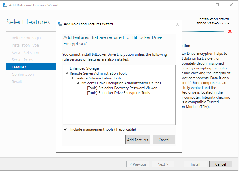 Bitlocker Drive EncryptionAdd FeaturesRecovery Password Viewer