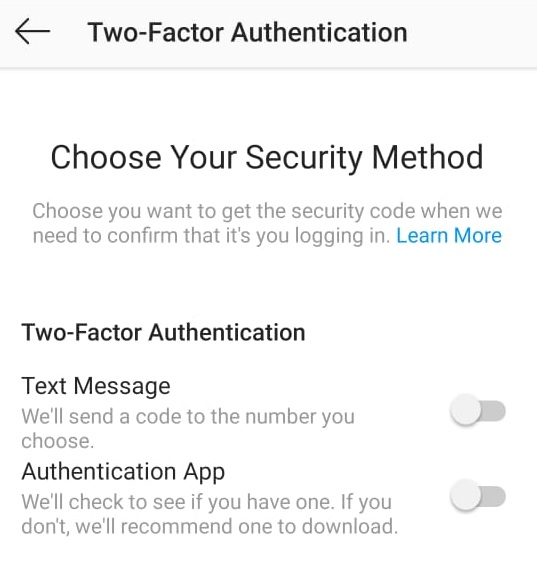 Instagram Choose your Security Method