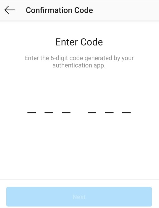 Instagram Verification Code