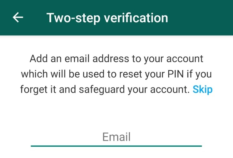 WhatsApp Two-Step Authentication