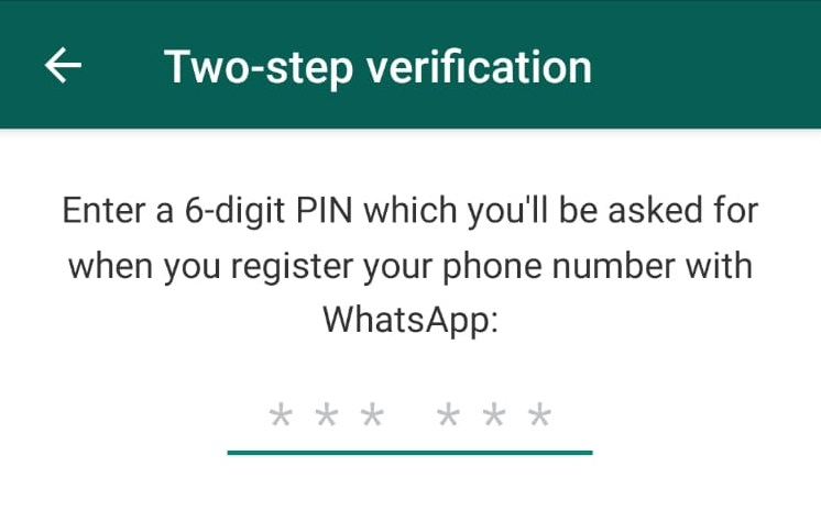WhatsAppTwo-Step Authentication