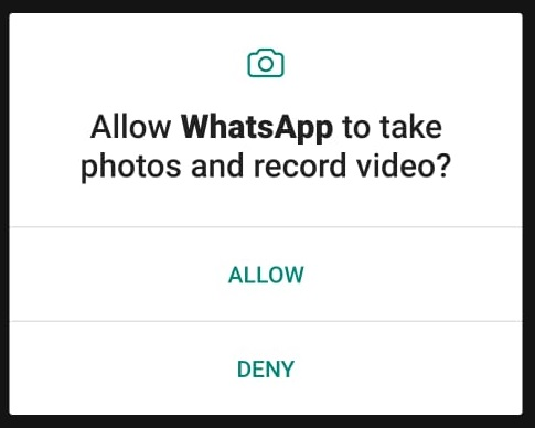 WhatsAppAllow Camera