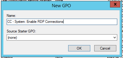 Group Policies Enable Remote DesktopNew GPO