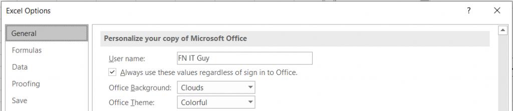 Excel Display name
