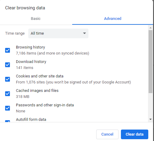 Chrome White PageClear Browsing Data